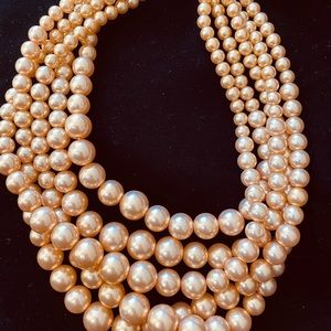 BEAUTIFUL PEARL SHINNING 5 strands Necklace Choker
